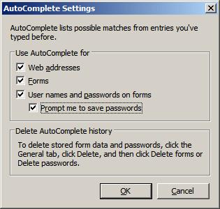 IE7 AutoComplete - Form passwords & usernames