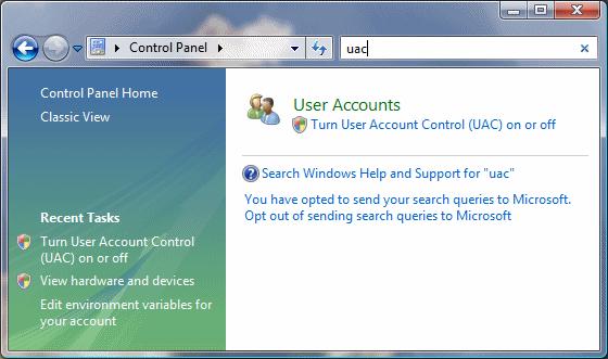Vista UAC Options