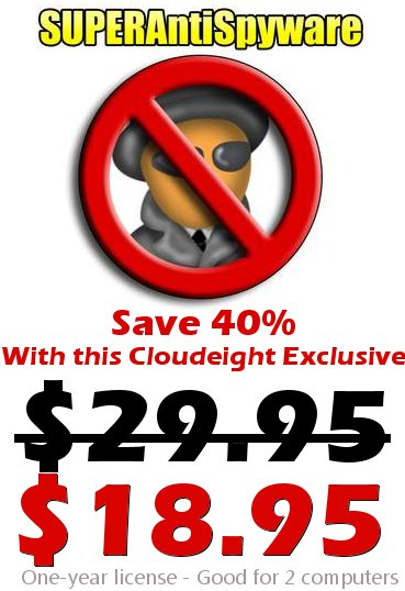 SuperAntiSpyware and Cloudeight Team up to save you money!