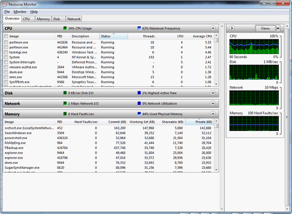 how to use resource monitor in windows 7