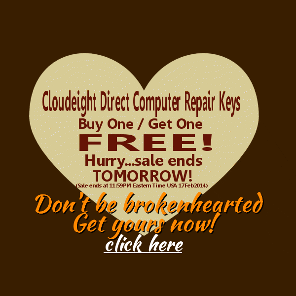 BOGO Ends Tomorrow...last chance to get a free Cloudeight Direct Computer Repair Key Free when you buy one.