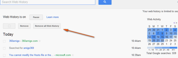 how to completely clear google search history
