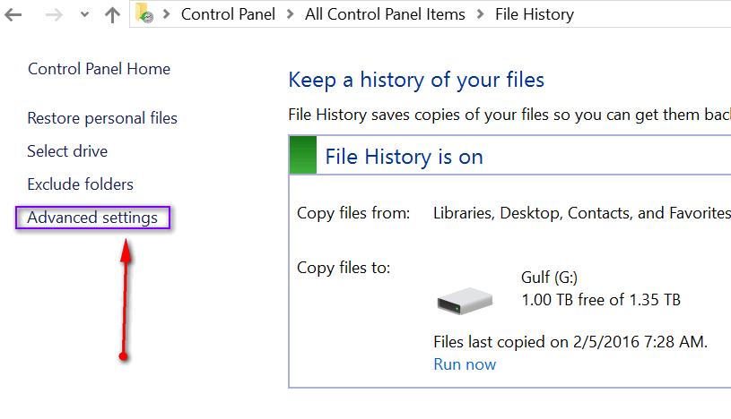 how to delete windows 10 utc in file history