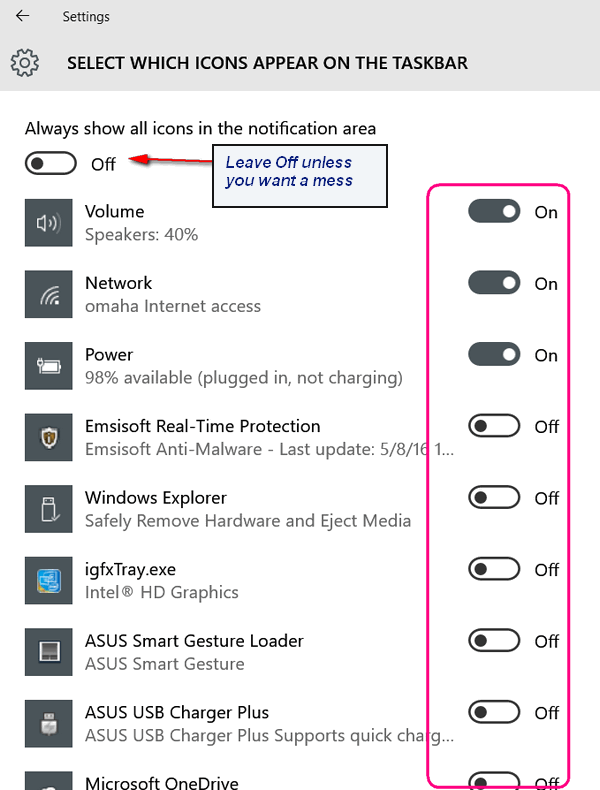 How to choose which icons appear on your windows 10 for How to choose windows