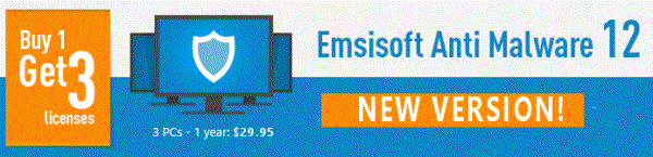 Emsisoft Sale - Protect 3 computers for the price of one!