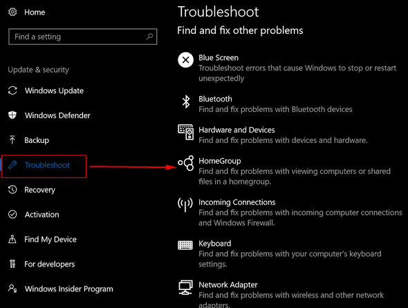 Windows 10 HomeGroup Troubleshooter