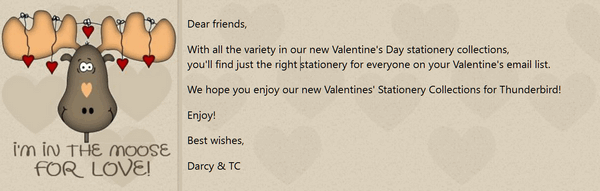Cloudeight Valentine's Day Stationery for Thunderbird
