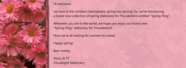 Cloudeight Stationery for Thunderbird - Spring Fling