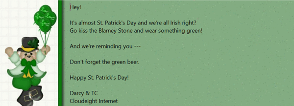 Cloudeight Stationery for Thunderbird - St. Patrick's Day