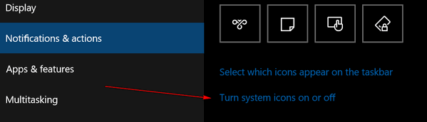 System Icons Action Center