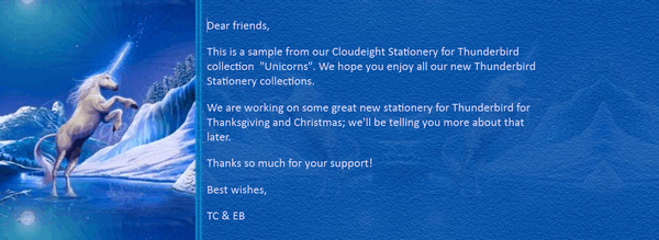Cloudeight Stationery for Thunderbird - Unicorns