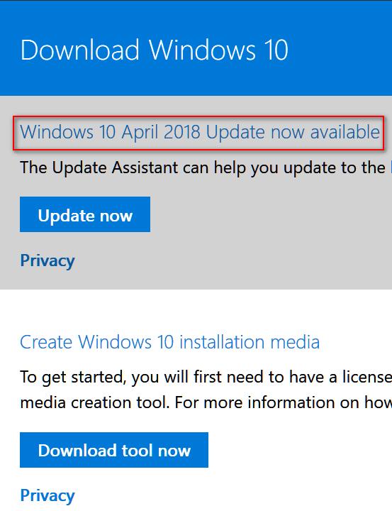 Windows 10 April 2018 Download Options