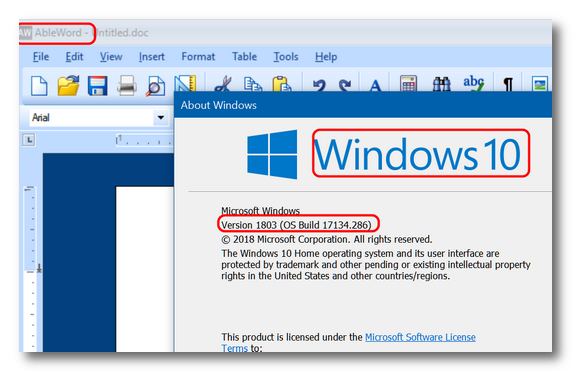 AbleWord running on Windows 10 Version 1803 - Cloudeight InfoAve