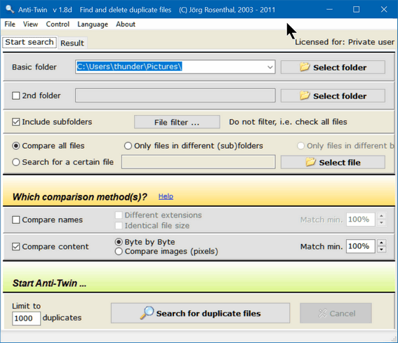 Cloudeight Freeware Pick Anti-Twin -Duplicate File Finder