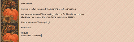 Cloudeight Stationery Autumn and Thanksgiving Collection