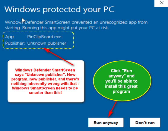 Windows Defender's SmartScreen being dumb - Cloudeight InfoAve