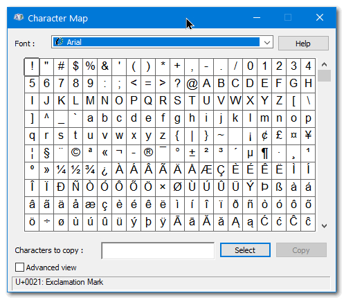 Windows Character Map - Cloudeight InfoAve Windows Tips