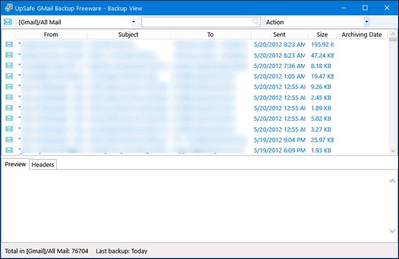 UpSafe Gmail Backup Free - Cloudeight Freeware Pick