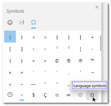 Windows 10 V.1903 Symbols in Emoji Pad - Cloudeight InfoAve Windows tips