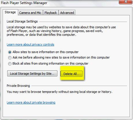 Flash Player Cache