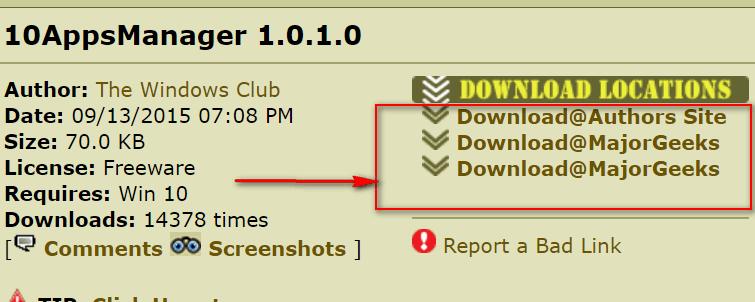 Major Geeks' Download Links for 10APPSManager