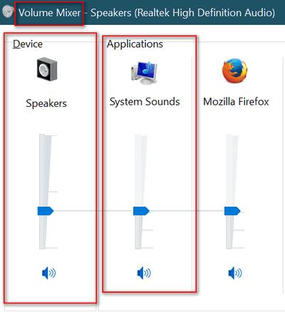 Sound Mixer in Windows 10