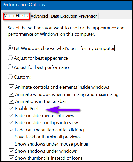 Enable Peek-- Cloudeight Windows tips