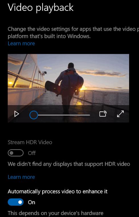 Windows 10 Video Playback Settings