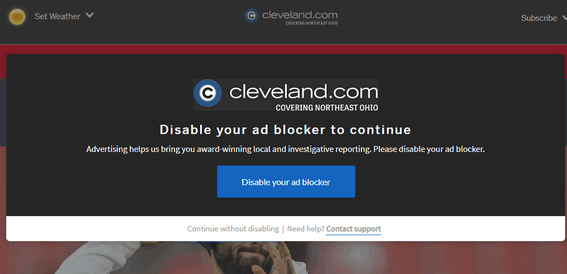 Turn off your ad blocker message - Cloudeight Tips & Tricks