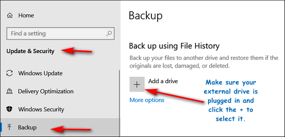Windows 10 File History - Cloudeight InfoAve