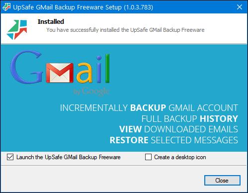 UpSafe Gmail Backup - Cloudeight Freeware Pick