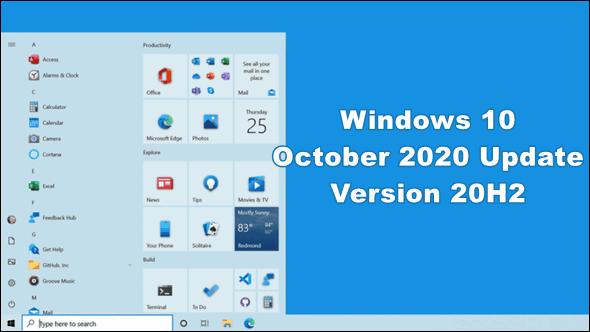 Windows 10 October 2020 Update (version 20H2)