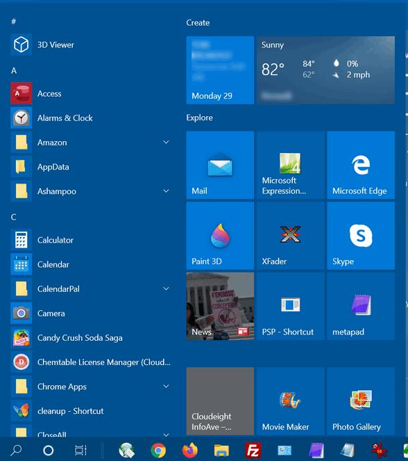 Slim down the Windows 10 Start menu