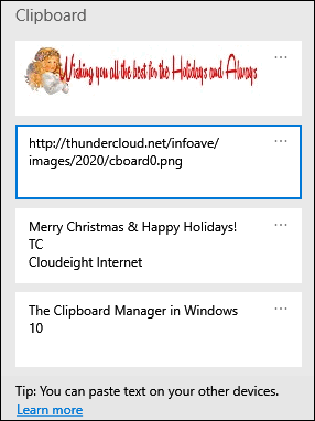 Cloudeight Windows 10 tips - Clipboard Manager