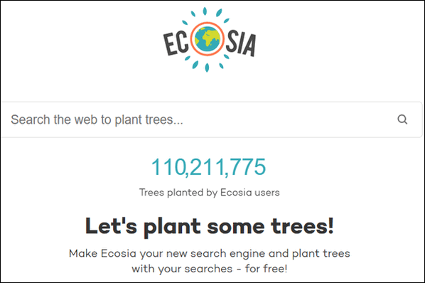 Cloudeight Site Pick - Ecosia - Search the Web and plant a tree