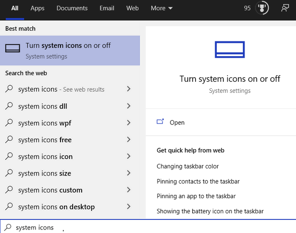 Turn System Icons On or Off- Cloudeight InfoAve