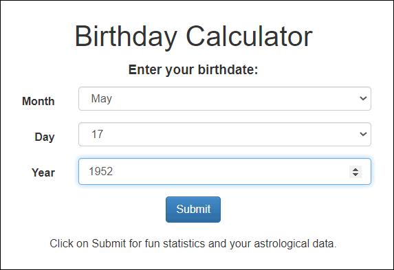 Cloudeight Site Pick Birthday Calculator