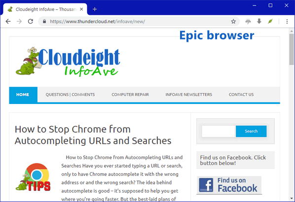 Epic Browser - Cloudeight Infoave