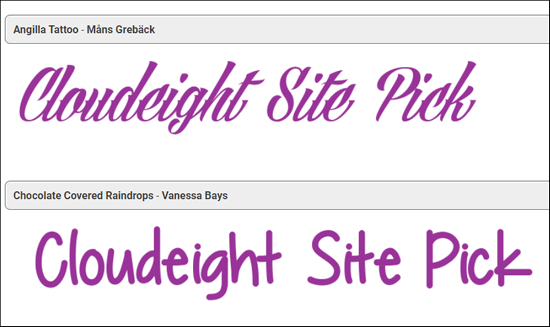Testing 1001 Fonts - A Cloudeight Site Pick