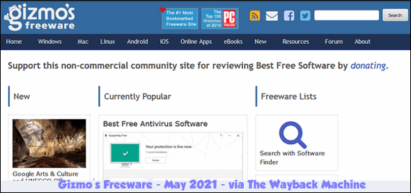 Gizmo's Freeware - May 2021 - Cloudeight InfoAve