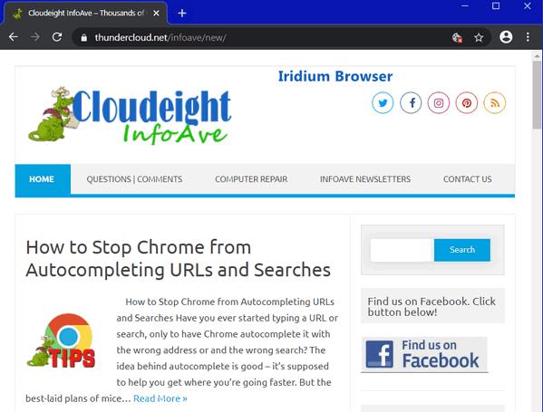 Iridium browser - Cloudeight Infoave