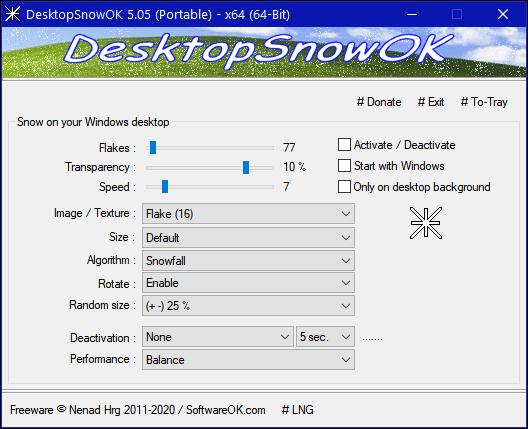 Cloudeight InfoAve DesktopSnowOK