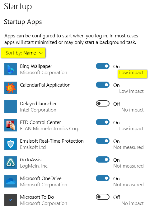 Windows 10 Tips by Cloudeight - Startups via Settings